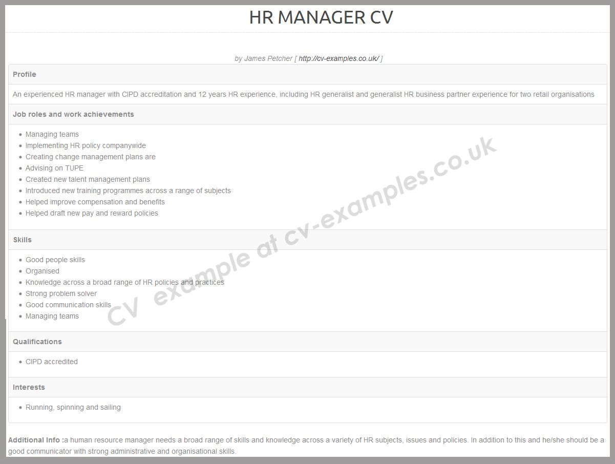 CV example for a HR manager posting Cv examples, Human