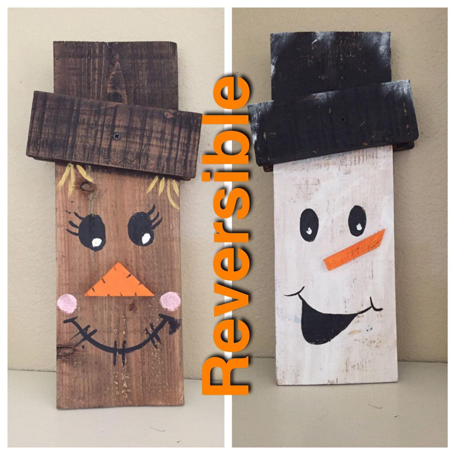 small reversible scarecrow snowman sign crafts pinterest