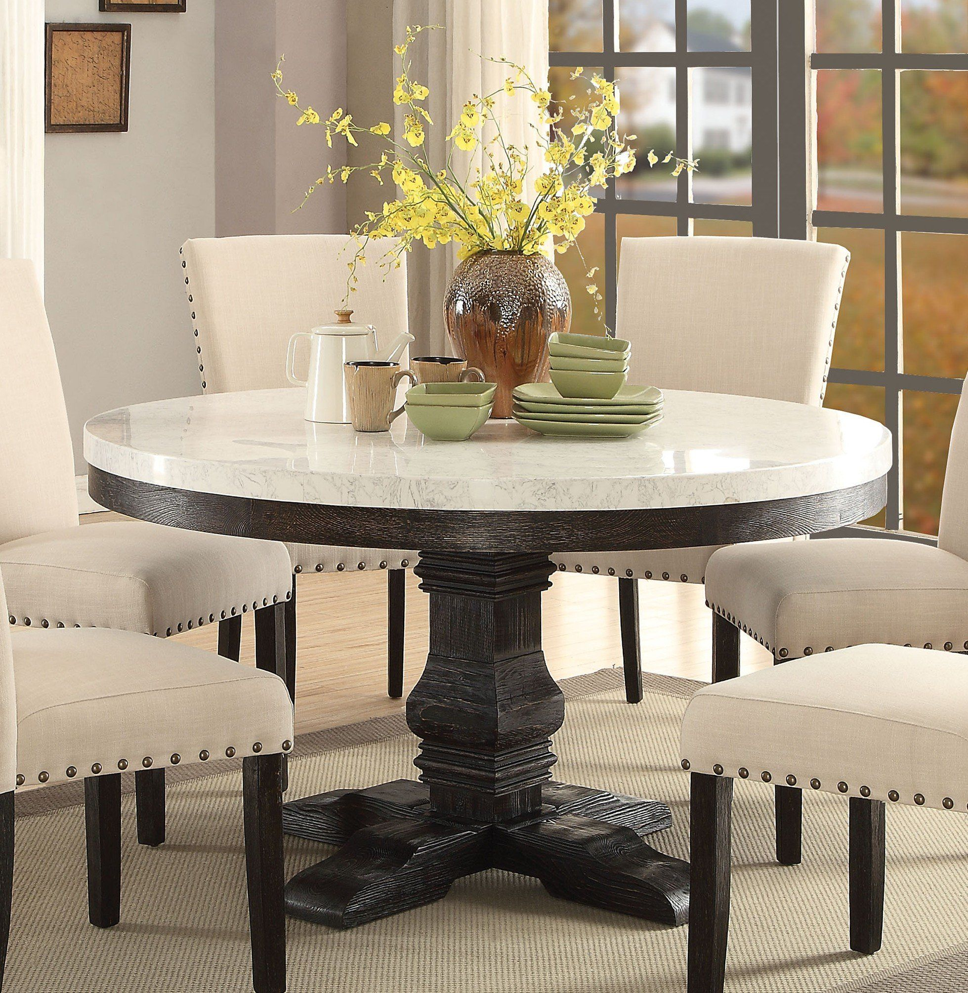 Very Elegant Marble Top Dining Table Acme 72845 Nolan White Marble Top Round Dining Table