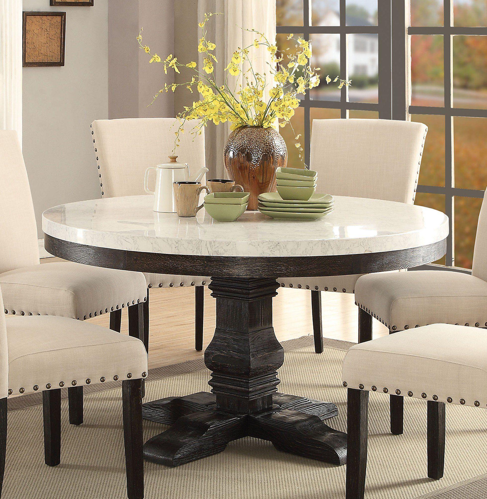Acme 72845 Nolan White Marble Top Round Dining Table Round