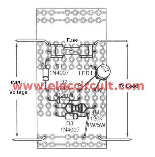 5 DC/AC Blown Fuse indicator circuit with LED Display