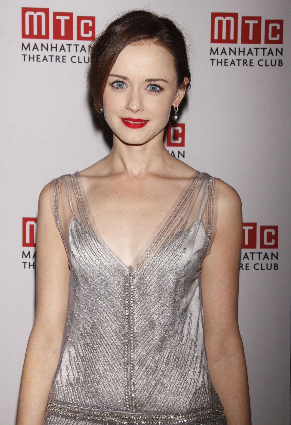 alexis bledel red lips blue eyes silver chiffon dress | cast