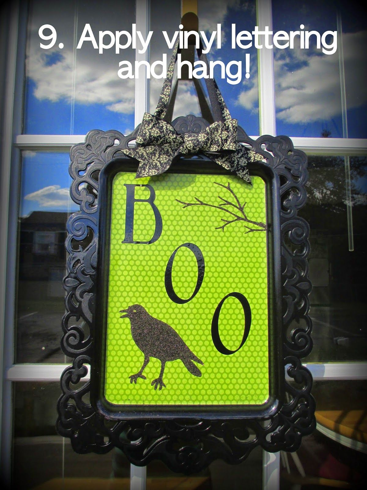 DIY Affordable Halloween Door Decoration Using a cheap platter or - door decoration halloween
