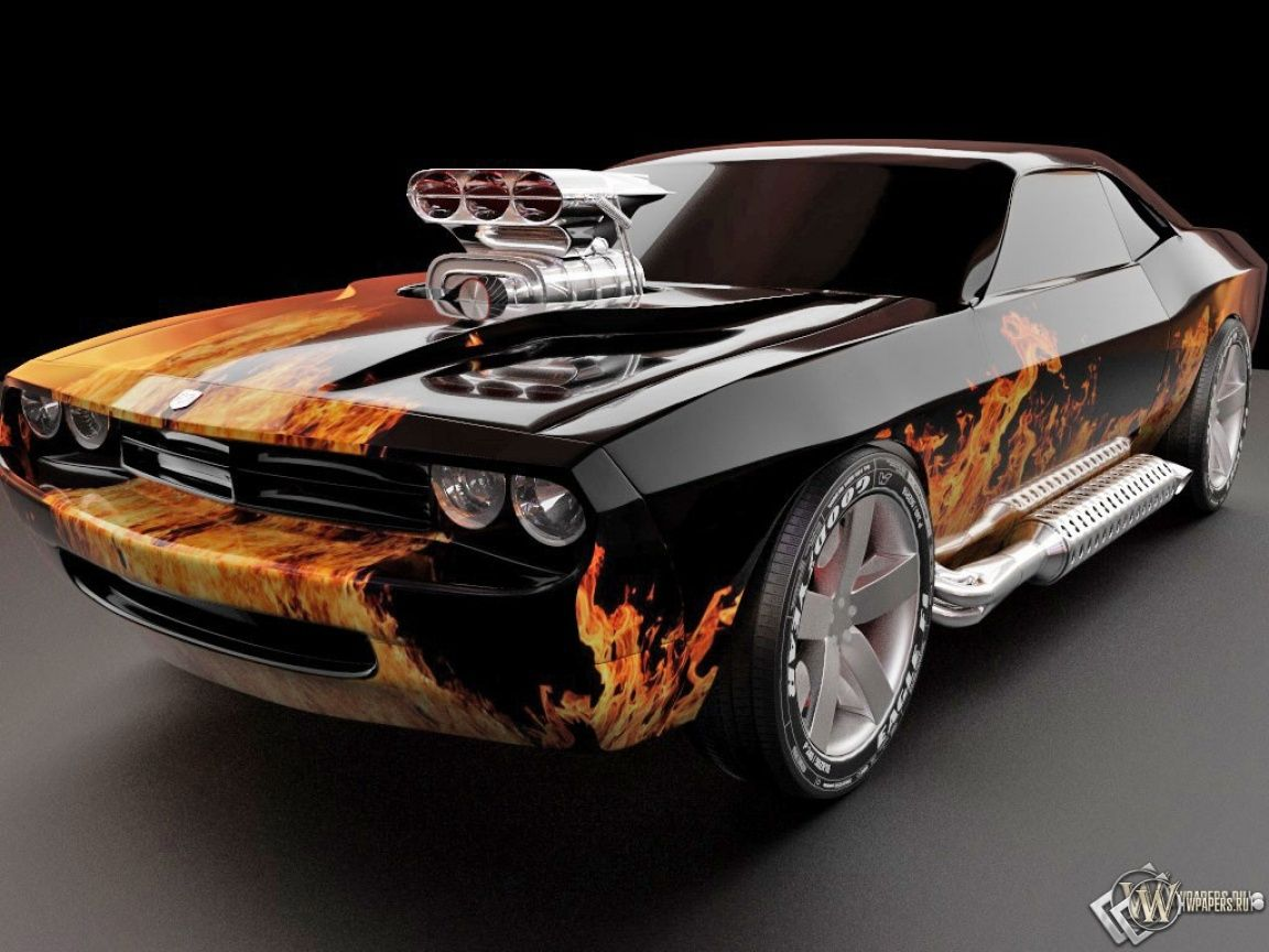 Dodge Challenger. On Fire!