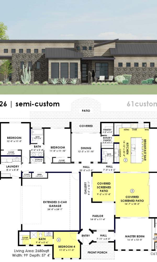 Courtyard26 Semi Custom House Plan In 2020 Courtyard House Courtyard House Plans Modern Contemporary House Plans