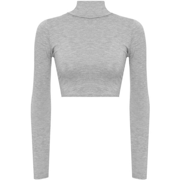5fed288112d2a0 Harmony Turtle Neck Crop Top ($12) ❤ liked on Polyvore featuring tops, light  grey, long sleeve crop top, turtleneck tops, cropped turtleneck, long sleeve  ...