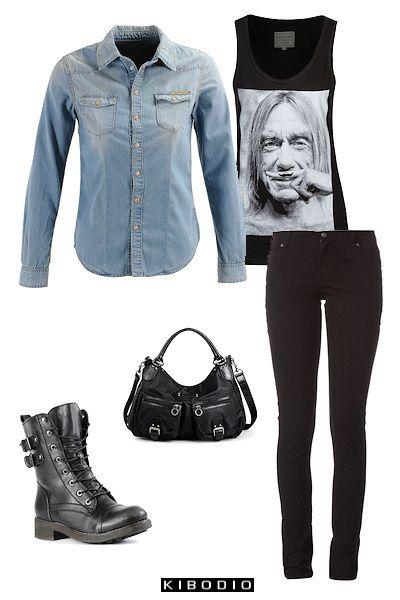 une chemise en jean pour un look rock fashion style dressed for sucess pinterest inspiration. Black Bedroom Furniture Sets. Home Design Ideas