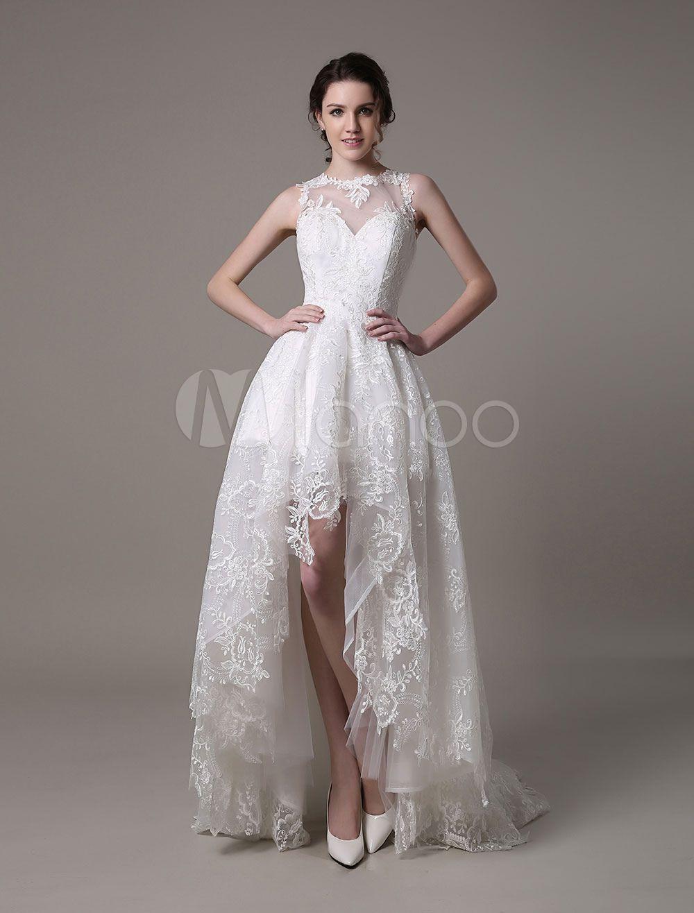 Cheap high low wedding dresses  Robe de mariée  en dentelle ivoire avec dentelle Cou translucide