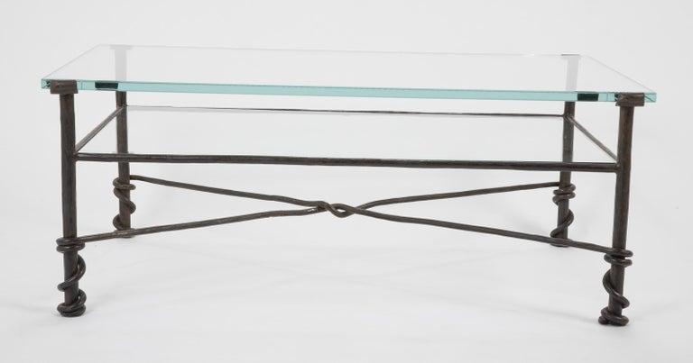 Diego Giacometti Style Wrought Iron Glass Topped Coffee Table Wrought Iron Table Wrought Iron Glass Coffee Table