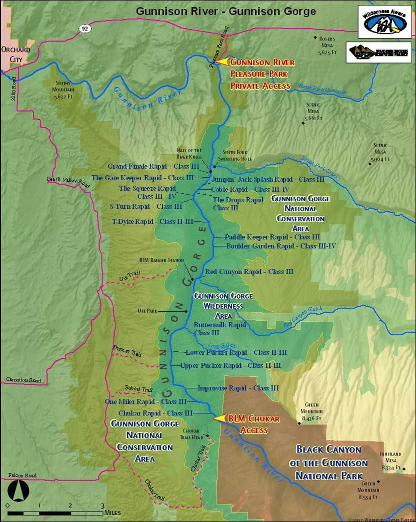 Gunnison River Map Gunnison Gorge White Water Rafting In