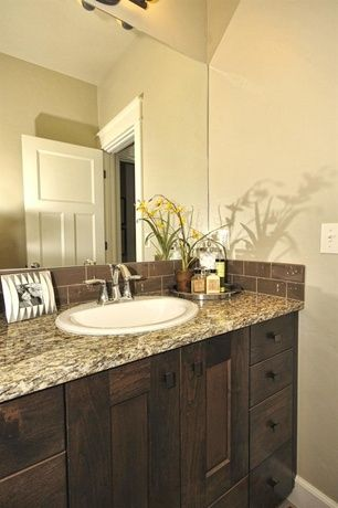 Traditional Powder Room with High ceiling, Flush, Glass subway tiles, European Cabinets, specialty door, Powder room