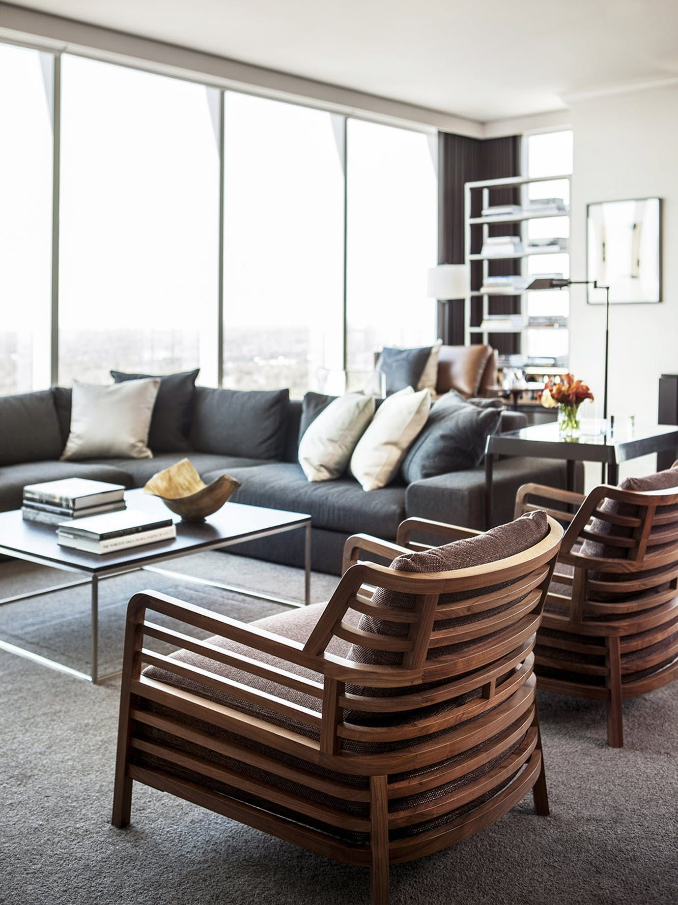 American modern living room - Buckhead High Rise Great Room Living Family Room Media Contemporary American Modern Transitional By Robert Brown