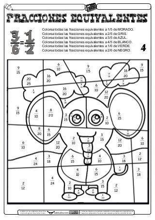 Fracciones Equivalentes Laminas Para Pintar Fracciones Fracciones Equivalentes Ejercicios De Fracciones