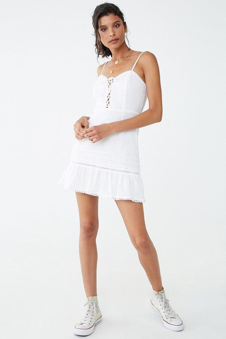 Crochet Trim Lace Up Cami Dress Forever 21 Trims Fashion Dresses Cami Dress [ 1125 x 750 Pixel ]