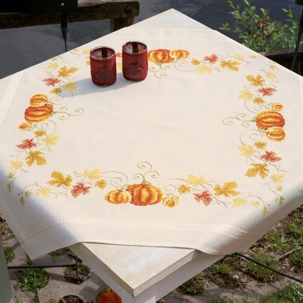 Pumpkins Tablecloth Stamped Cross Stitch Kit 32x32 Autumn
