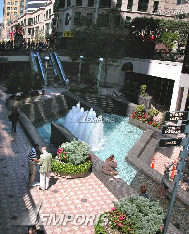 Landscaping Ideas For Commercial Buildings: Sunken Plaza With Dancing Fountains, Oakland City Center, Oakland