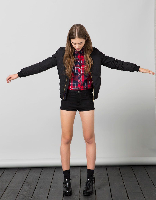 Bsk Checked Snap Button Shirt Con Imágenes Moda