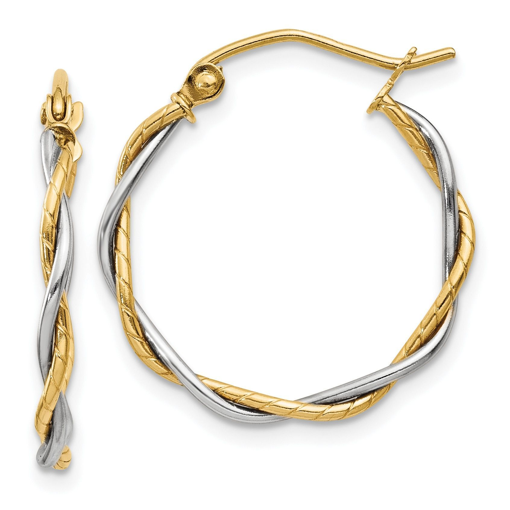 Versil 14k Gold Polished 18mm Twisted Hoop Earrings Clean Gold