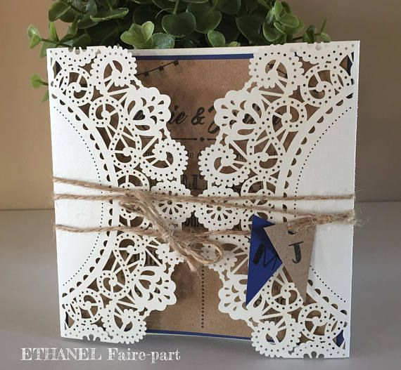 Chiseled lace retro wedding invitation boho chic – set of 10