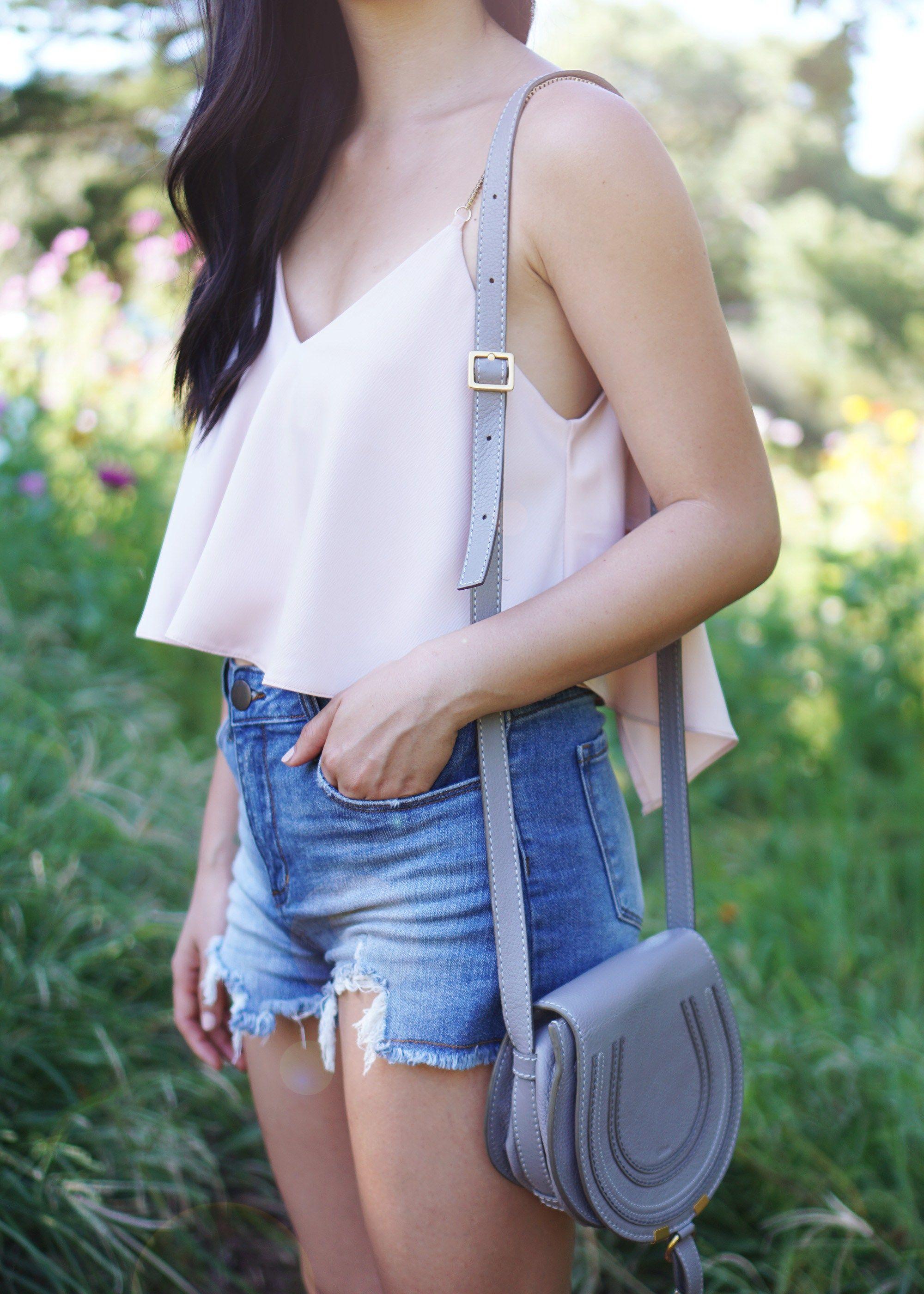 b061fd13211 Summer Style   Pink Crop Top   High Waisted Denim Shorts Chloe Mini Marcie