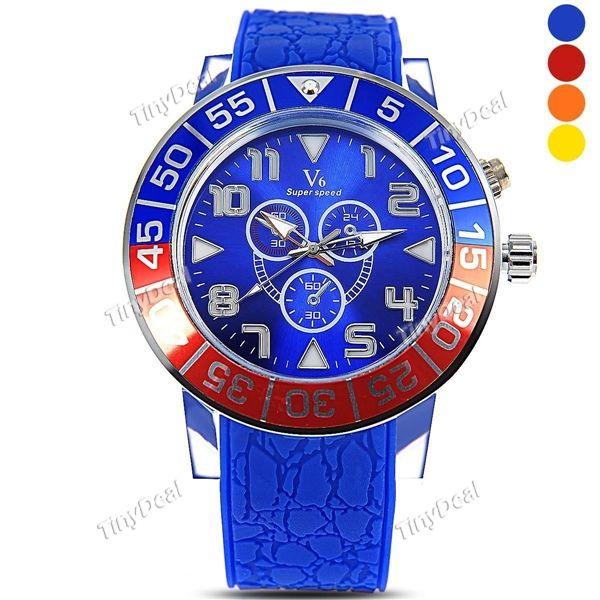 Hot Boy Men Silicone Band Transparent Case Stylish Round Case Quartz Leisure Wrist Watch WWT-373385