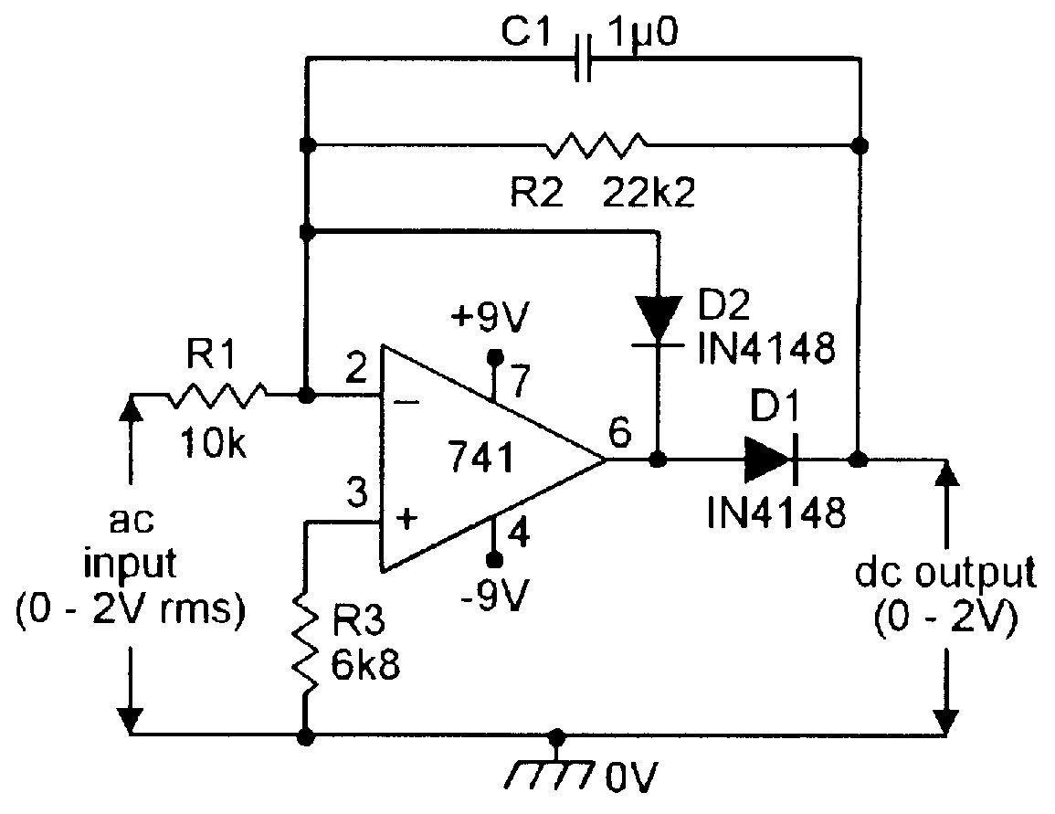 Precision Half Wave Ac Dc Converter Electronics Pinterest Light Sensor Switch Circuit Using Jkflipflop Eleccircuit