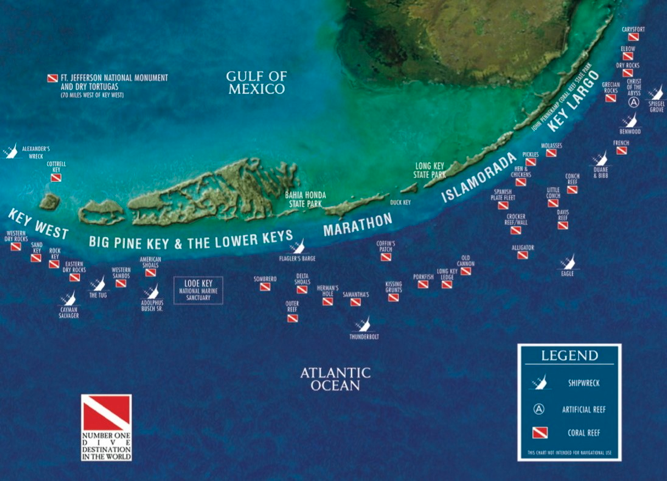 Florida Reefs And Wrecks Map.Florida Keys Dive Map Reefs And Wrecks Along The Florida Keys