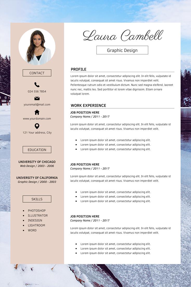 Modern Resume Template Cv Template For Ms Word Professional Resume Design Resume Cover Letter Resume Instant Download Modele De Cv Moderne Modele Cv Cv Moderne