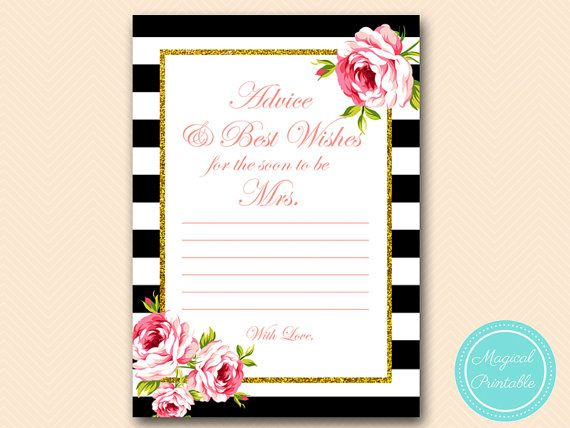advice and best wishes for the bride advice card black stripes floral bridal shower games bridal