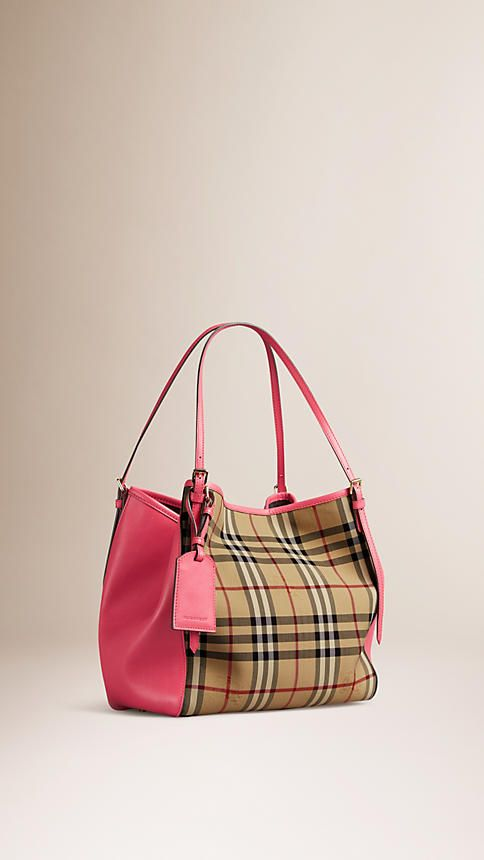 9826fb85ede3 Honey bright crimson pink The Small Canter in Horseferry Check and Leather  - Image 5