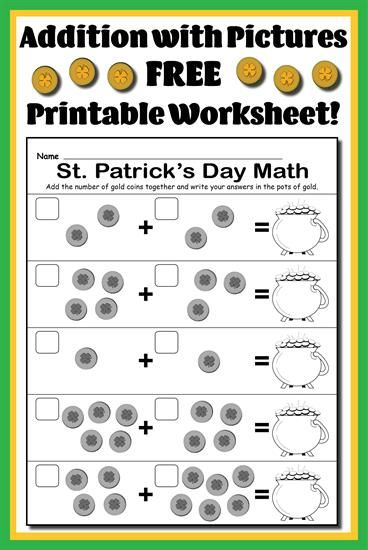 Free St Patricks Day Themed Addition With Pictures Math