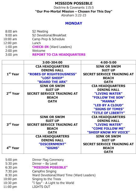 Sample Week Schedule  Girls Camp    Girls Camp And Camping