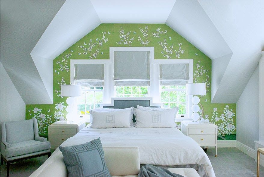 vibrant design modern floral wallpaper. Shea McGee Design  bedrooms attic bedroom blue and green wallpaper accent wall modern floral Fab ceiling detail vibrant LOVE Designer by Laura Tutin
