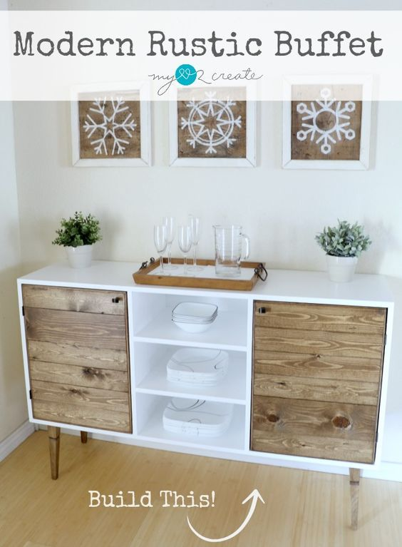 DIY Build Your Own Modern Rustic Buffet With Free Building Plans And Picture Tutorial At