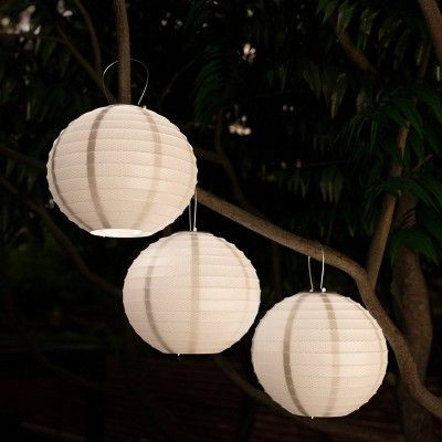 3pk Chinese Solar Led Outdoor Hanging Lanterns White Pure Garden Outdoor Hanging Lanterns Pure Garden Outdoor Solar Lights