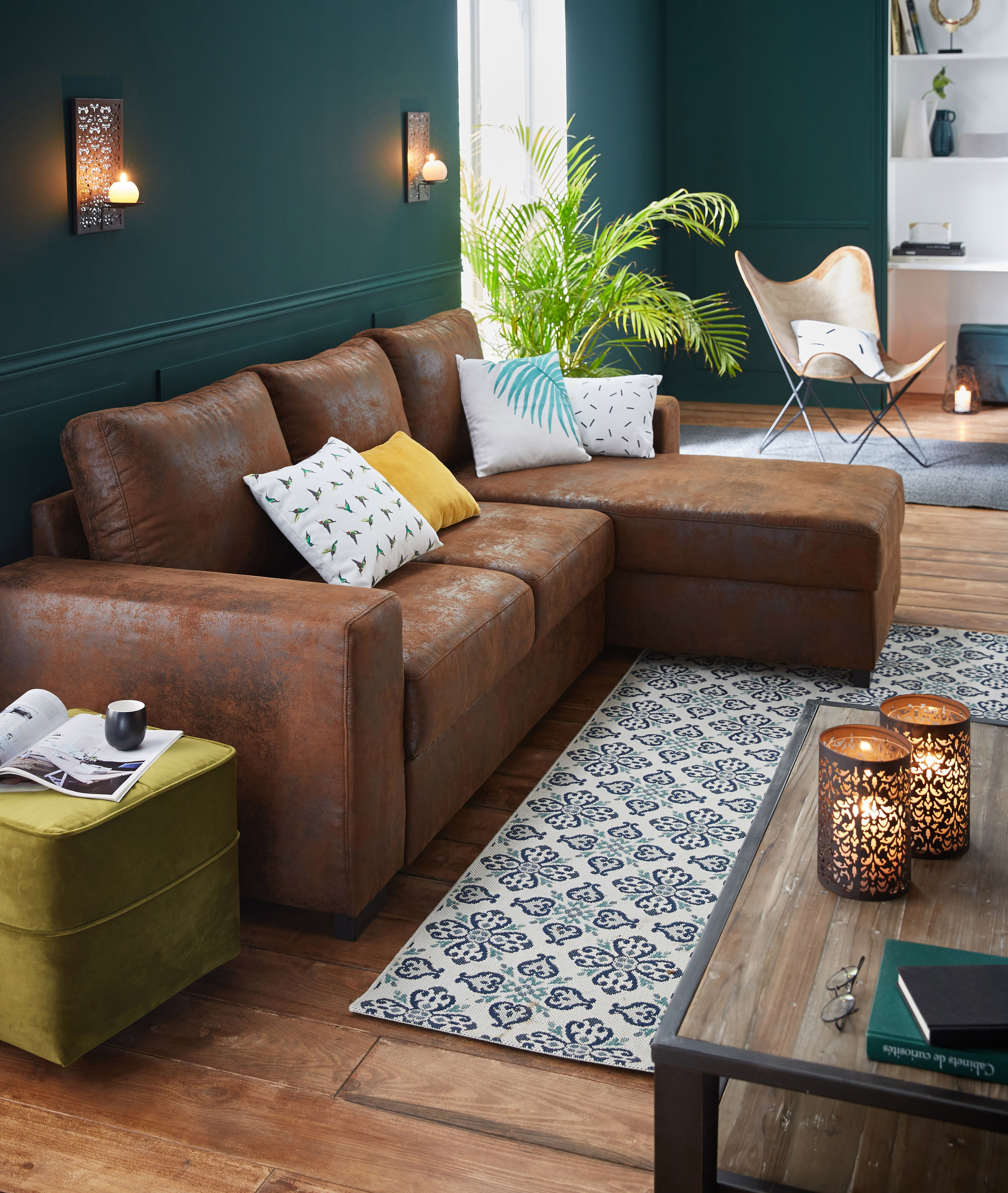 cuba salon canap d 39 angle r versible en cro te de cuir. Black Bedroom Furniture Sets. Home Design Ideas