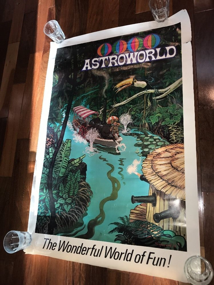 74d4b4cbc4d6 Very rare 1968 Advertising poster for astroworld designed by Harper GOFF  Good condition but does have