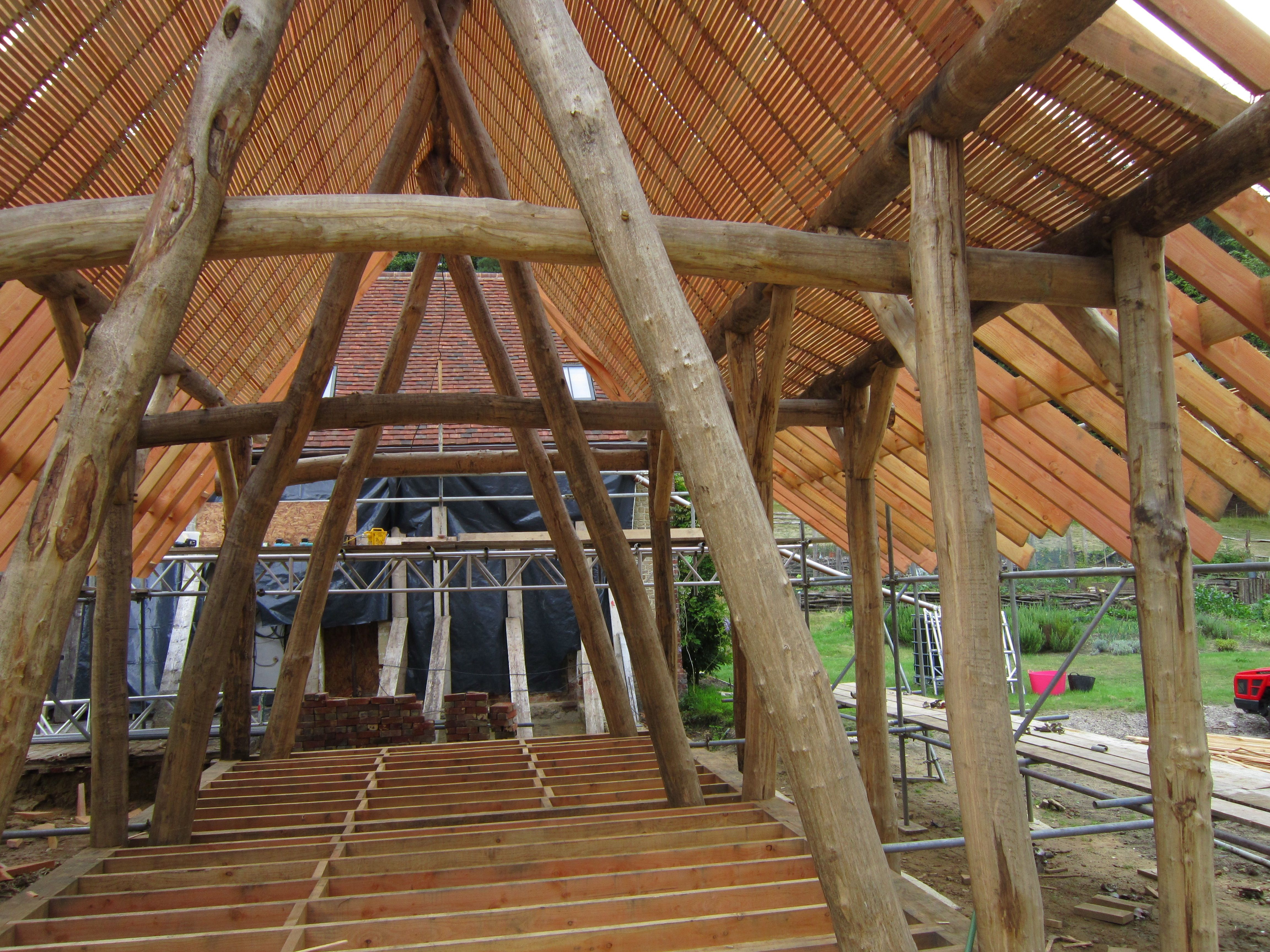 Sweet Chestnut Roundwood Timber Frame And Douglas Fir Roof