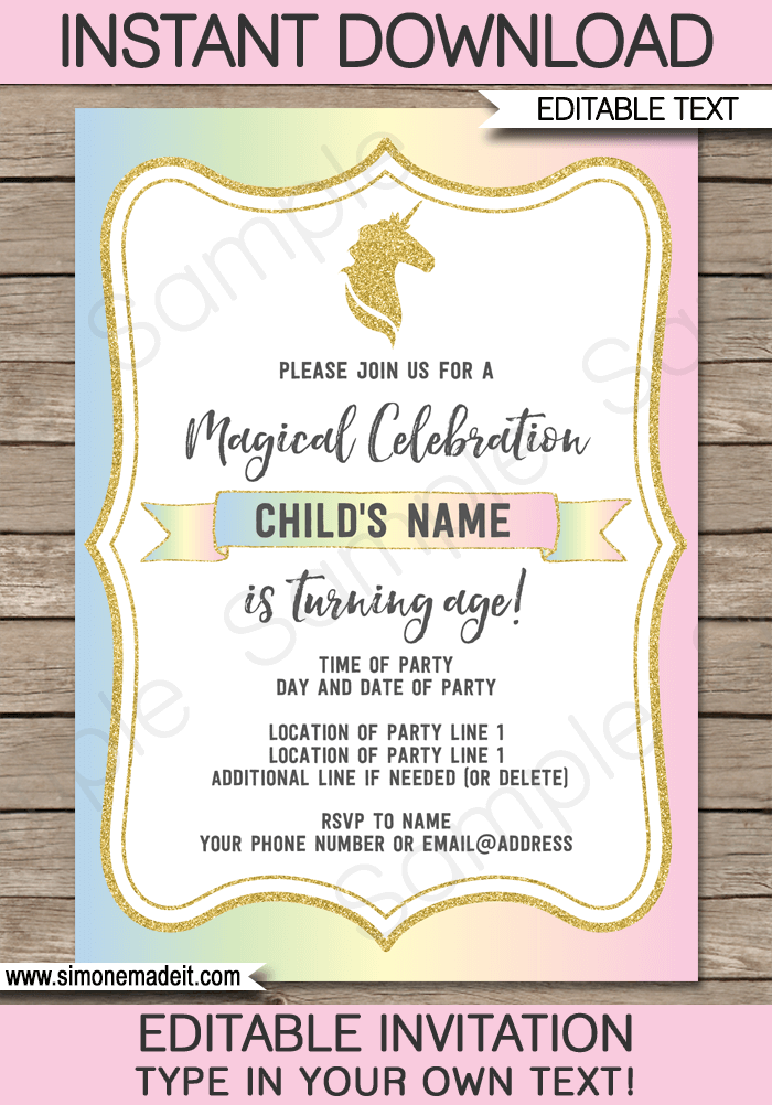 Unicorn party invitations template pinterest unicorn invitations template unicorn theme birthday party invite diy editable printable template stopboris Gallery
