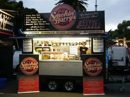 Smokin' Barrys slow cooked BBQ food truck #bbq #foodtruck #meat #retro #Melbourne #southwharf #amityapartments