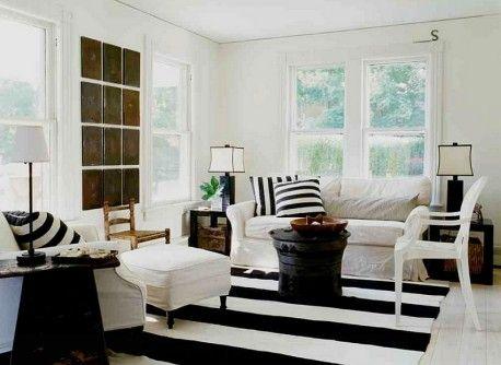 chic farmhouse living room black white striped carpet cushions