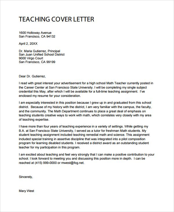 Sample Teacher Cover Letter Documents Pdf Word Training