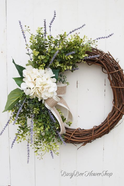 Photo of Farmhouse Spring Wreath with Artificial Hydrangea for Front Door, Wreath for Shabby Chic Summer Home Decor, Grapevine Wreath with Burlap Bow