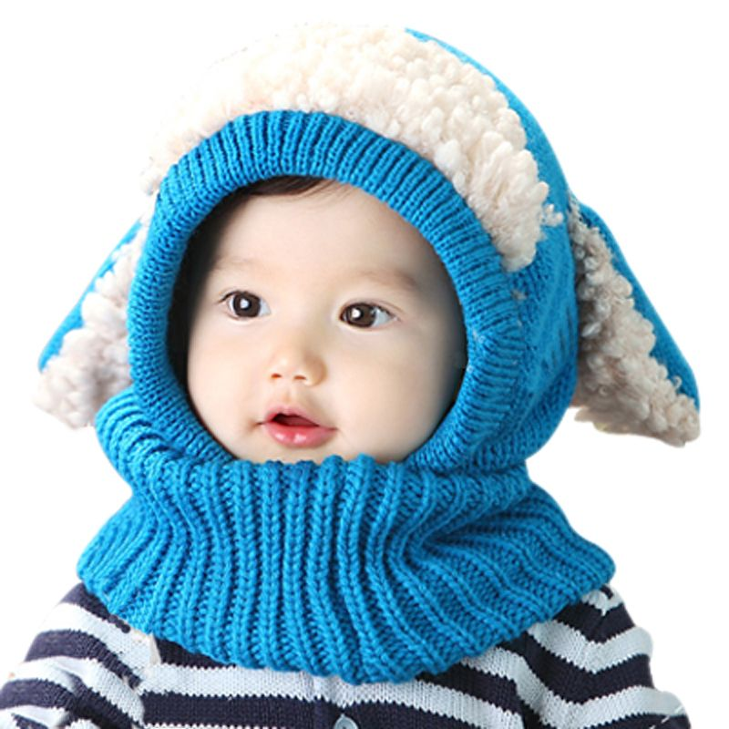 Winter Baby Hat and Scarf Joint With Dog Style  Crochet Knitted Caps for Infant  Boys Girls  Very Warm d5eda81a8e2a