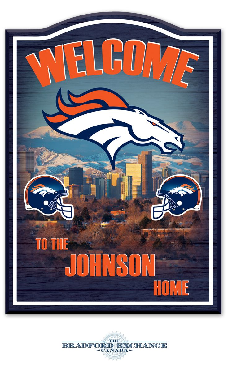 Denver Broncos Personalized Wall Decor: First-of-a-kind Denver Broncos wooden welcome sign personalized with family name. Sports team colours. Officially licensed by NFL Properties LLC.