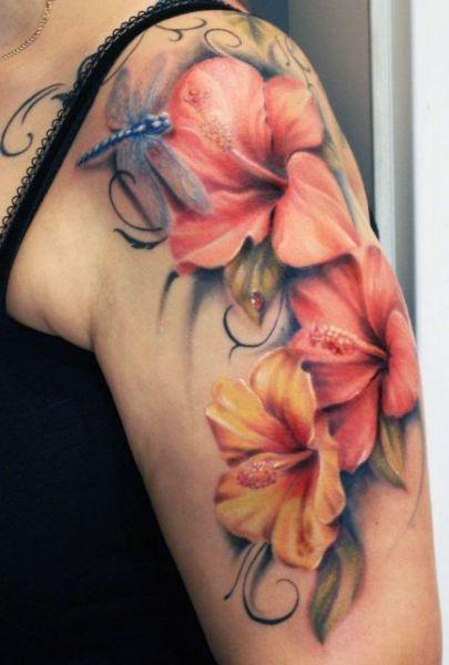 Tatuaz Kwiaty I Wazki Hawaiian Tattoo Hawaiian Flower Tattoos Hibiscus Tattoo