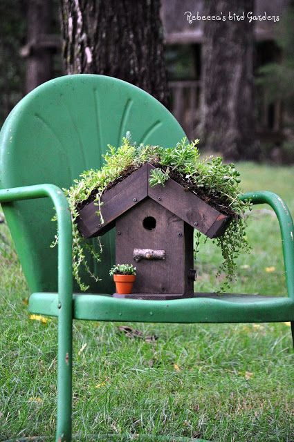 Rebecca\'s Bird Gardens: Living-roof Birdhouse ♥ | Bird Gardens ...