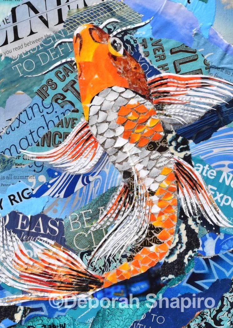 Orange And White Koi Fish Collage On A Blue Background Ive Been Contemplating A Constructing A Pond In My Ba In 2020 Collage Art Projects Paper Collage Art Collage Art