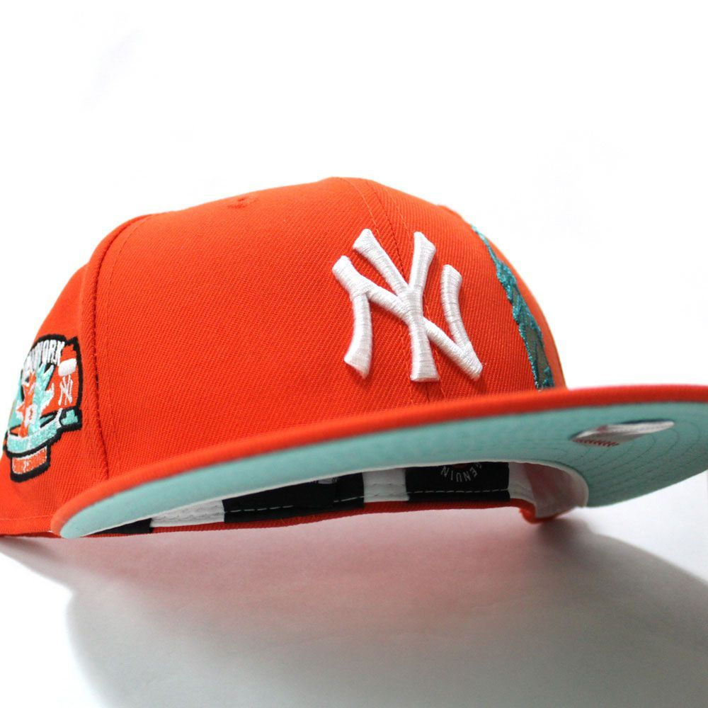 Statue Of Liberty Newyorkyankees Subway Series 59fifty Fitted Neweracap In Orange Bluetintunderbrim Ecapcity In 2021 Fitted Hats New Era Cap Snapback Hats
