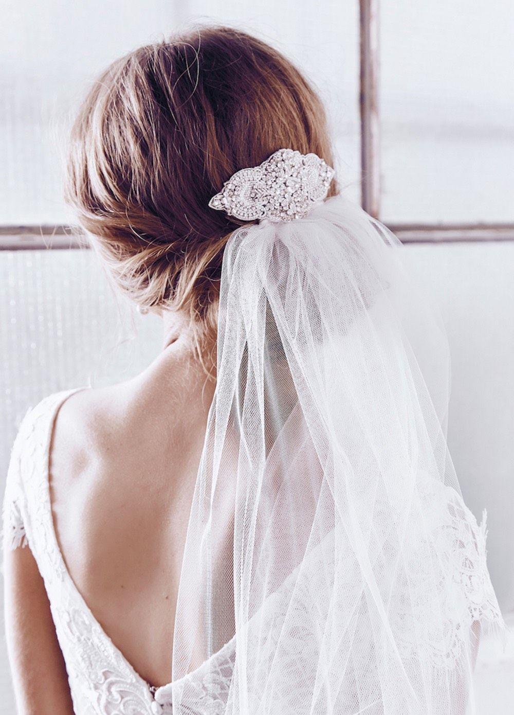 Victoria Comb Single Tier Mid-Length Veil Bridal Hair| Anna Campbell ...